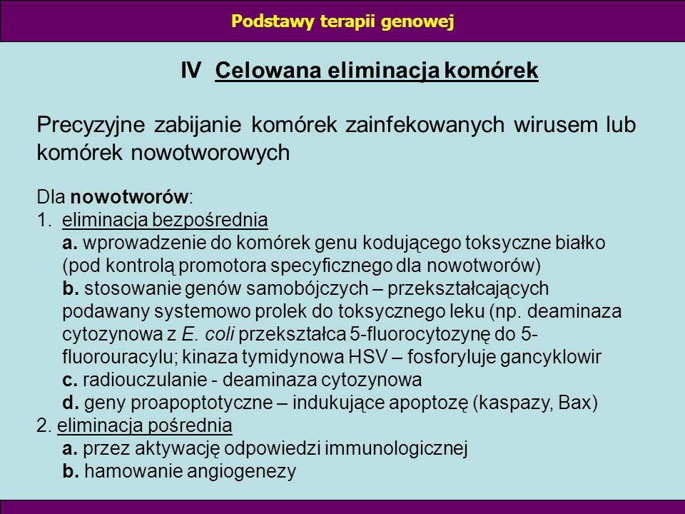 Podstawy terapii genowej IV Celowana eliminacja komórek