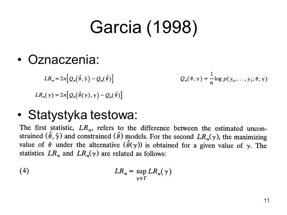 Garcia (1998) Oznaczenia: Statystyka testowa: