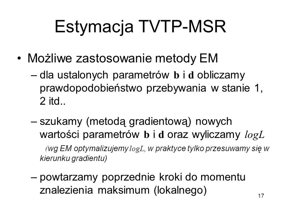 Estymacja TVTP-MSR Możliwe zastosowanie metody EM