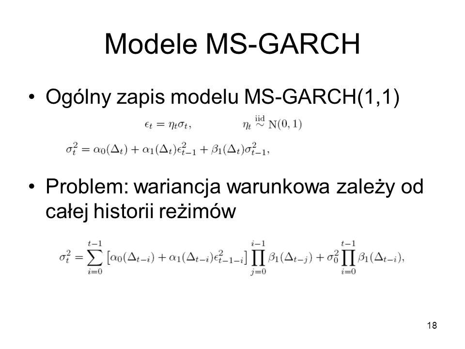 Modele MS-GARCH Ogólny zapis modelu MS-GARCH(1,1)