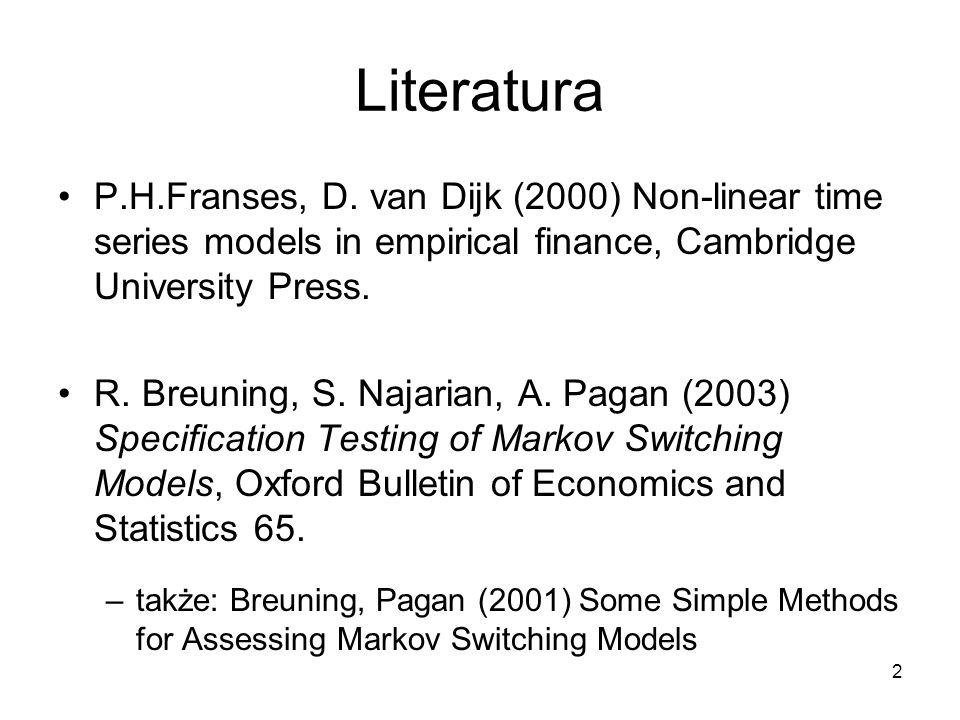 Literatura P.H.Franses, D. van Dijk (2000) Non-linear time series models in empirical finance, Cambridge University Press.