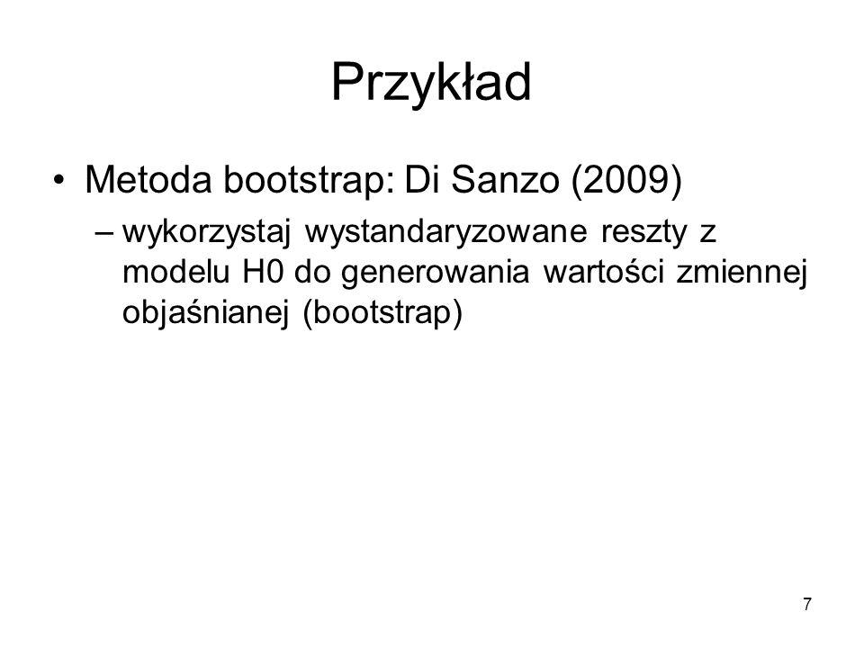 Przykład Metoda bootstrap: Di Sanzo (2009)