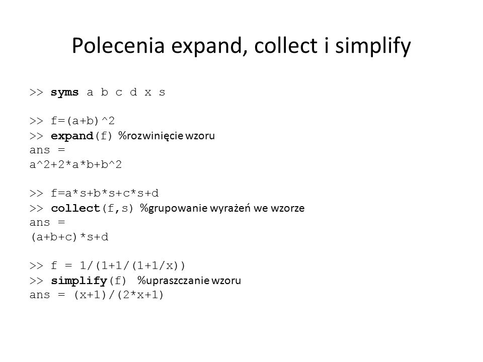 Polecenia expand, collect i simplify
