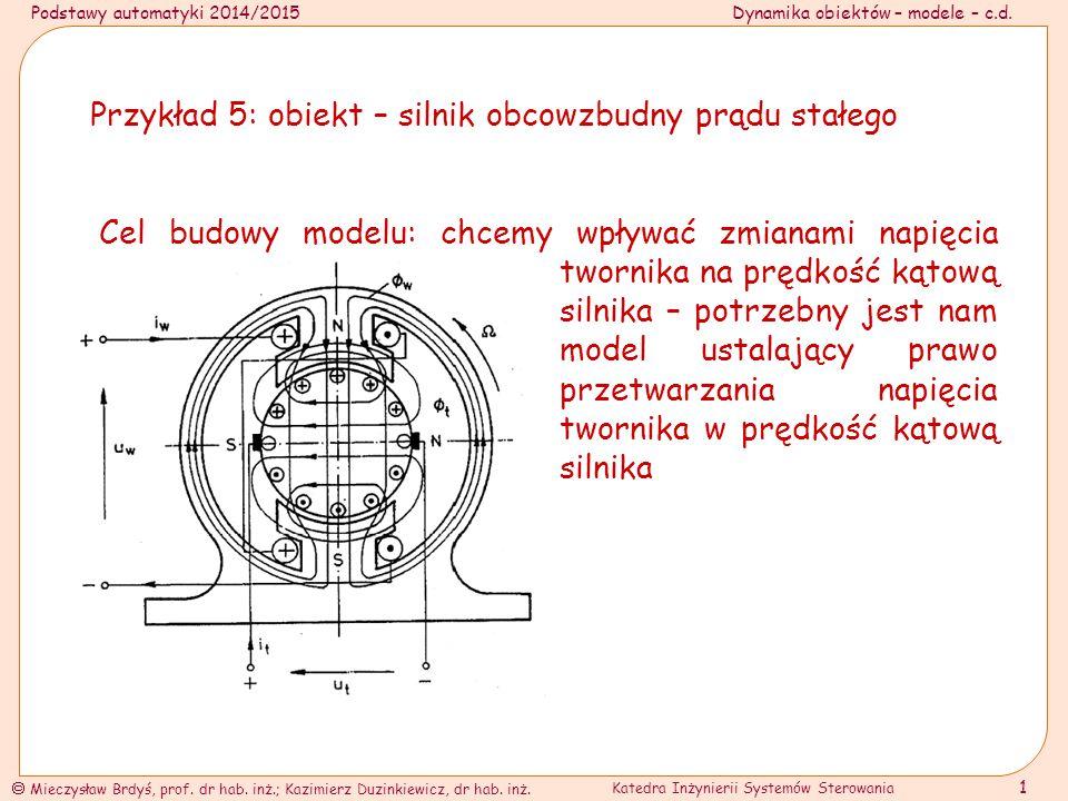 Przykład 5: obiekt – silnik obcowzbudny prądu stałego