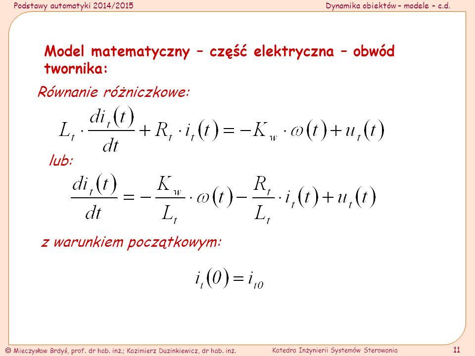 Model matematyczny – część elektryczna – obwód twornika:
