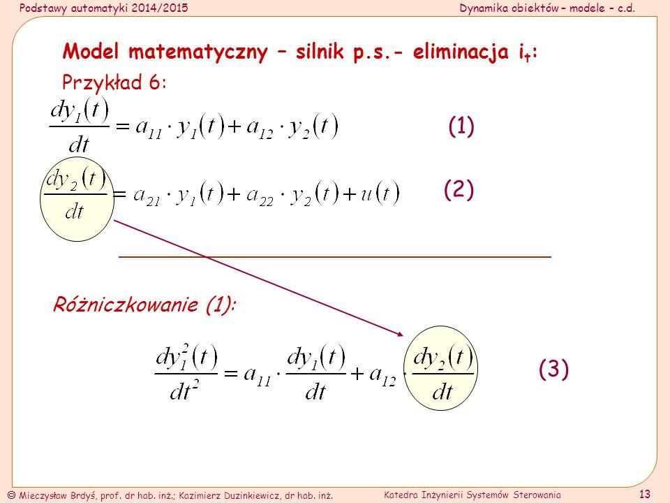 (1) (2) (3) Model matematyczny – silnik p.s.- eliminacja it: