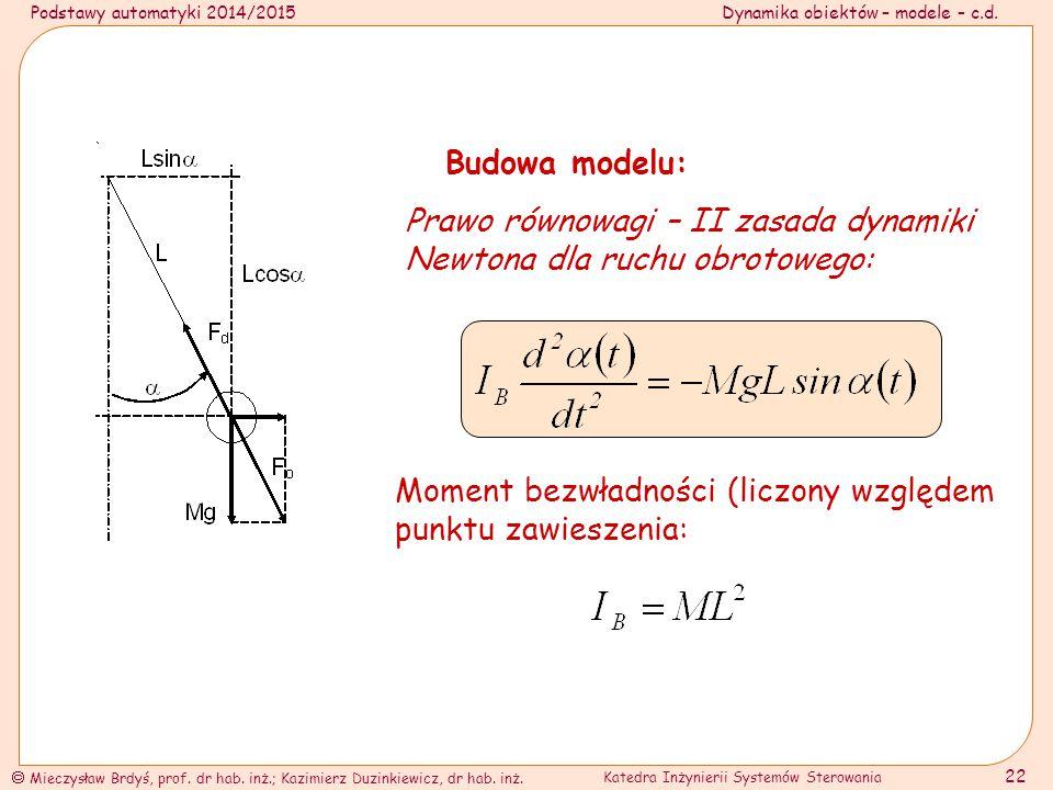 Budowa modelu: Prawo równowagi – II zasada dynamiki Newtona dla ruchu obrotowego: Moment bezwładności (liczony względem punktu zawieszenia: