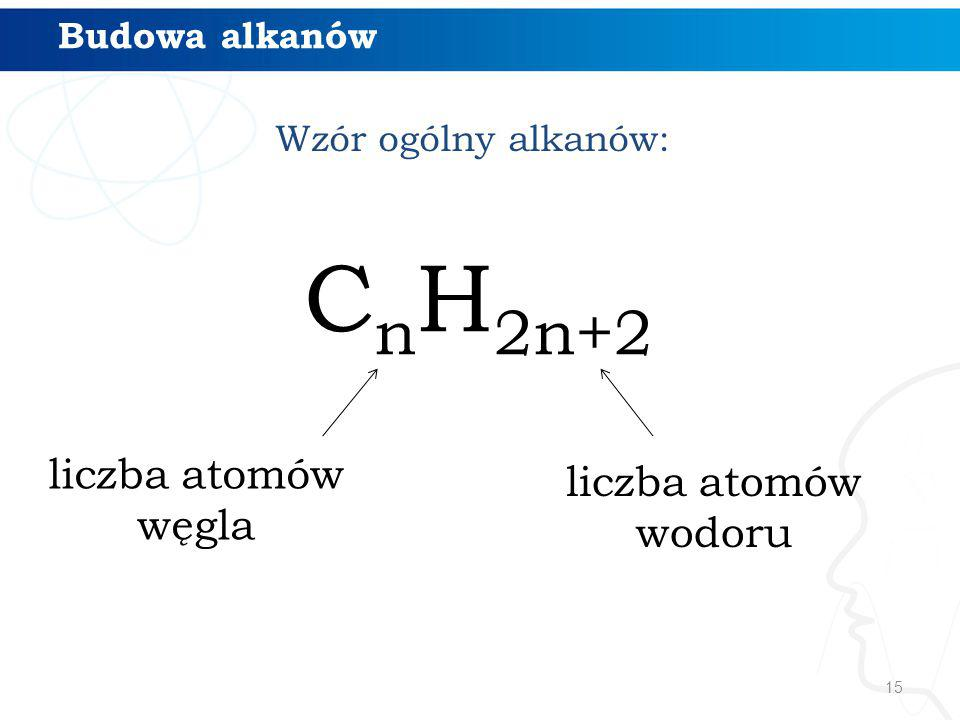 CnH2n+2 liczba atomów liczba atomów węgla wodoru Budowa alkanów