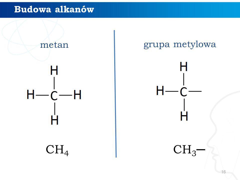 Budowa alkanów metan grupa metylowa CH4 CH3─