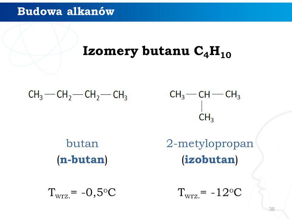 Izomery butanu C4H10 Budowa alkanów butan (n-butan) Twrz.= -0,5oC