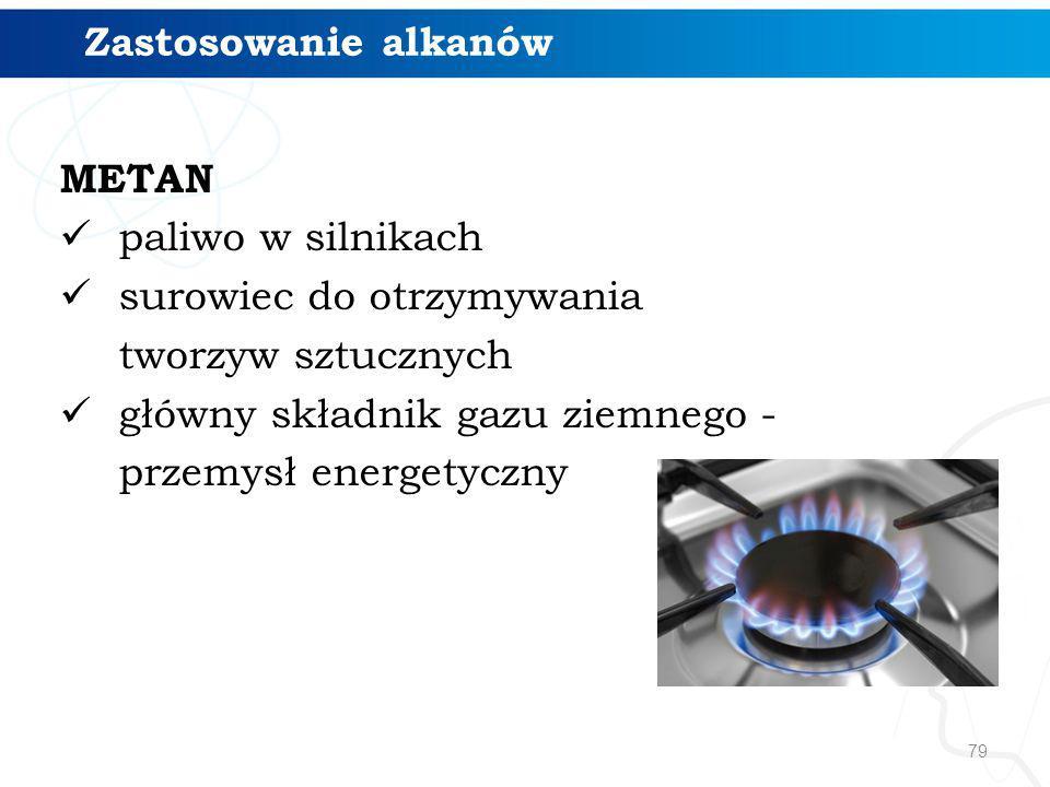 Zastosowanie alkanów METAN. paliwo w silnikach. surowiec do otrzymywania. tworzyw sztucznych. główny składnik gazu ziemnego -