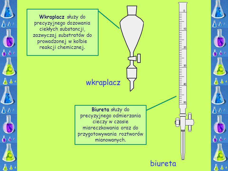 Wkraplacz służy do precyzyjnego dozowania ciekłych substancji, zazwyczaj substratów do prowadzonej w kolbie reakcji chemicznej.