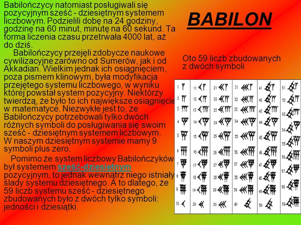 Babilończycy natomiast posługiwali się pozycyjnym sześć - dziesiętnym systemem liczbowym. Podzielili dobę na 24 godziny, godzinę na 60 minut, minutę na 60 sekund. Ta forma liczenia czasu przetrwała 4000 lat, aż do dziś. Babilończycy przejęli zdobycze naukowe cywilizacyjne zarówno od Sumerów, jak i od Akkadian. Wielkim jednak ich osiągnięciem, poza pismem klinowym, była modyfikacja przejętego systemu liczbowego, w wyniku której powstał system pozycyjny. Niektórzy twierdzą, że było to ich największe osiągnięcie w matematyce. Niezwykłe jest to, że Babilończycy potrzebowali tylko dwóch różnych symboli do posługiwania się swoim sześć - dziesiętnym systemem liczbowym. W naszym dziesiętnym systemie mamy 9 symboli plus zero.