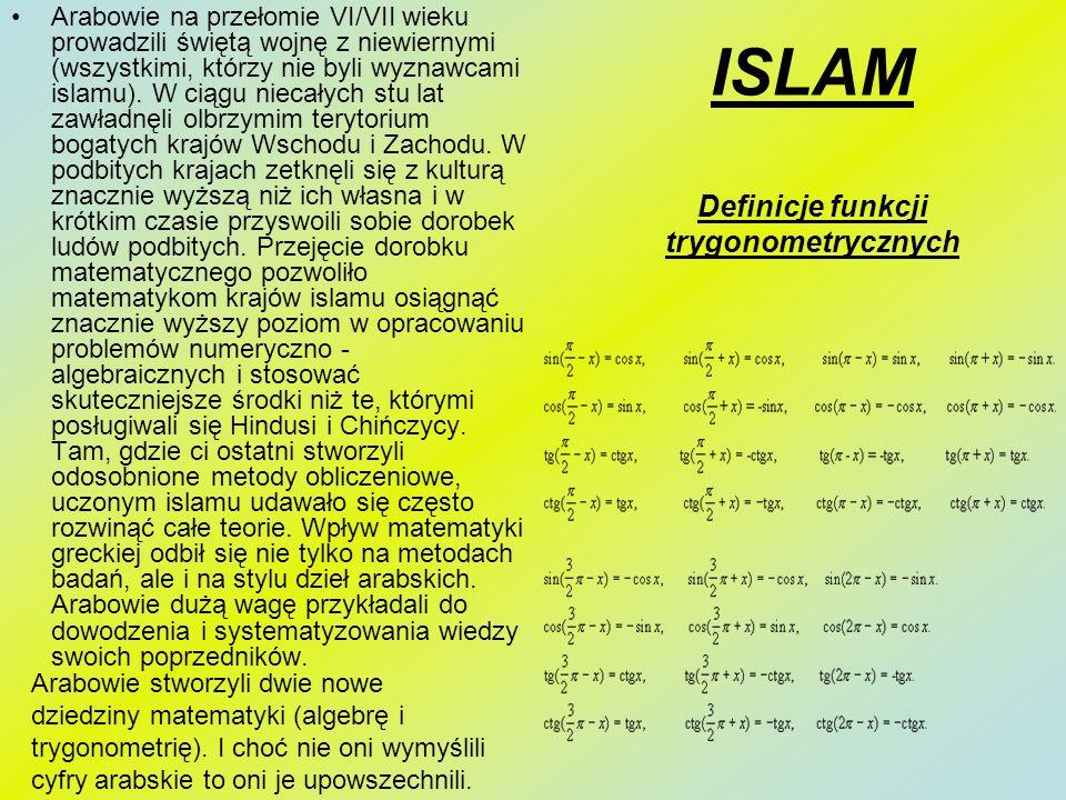 ISLAM Definicje funkcji trygonometrycznych
