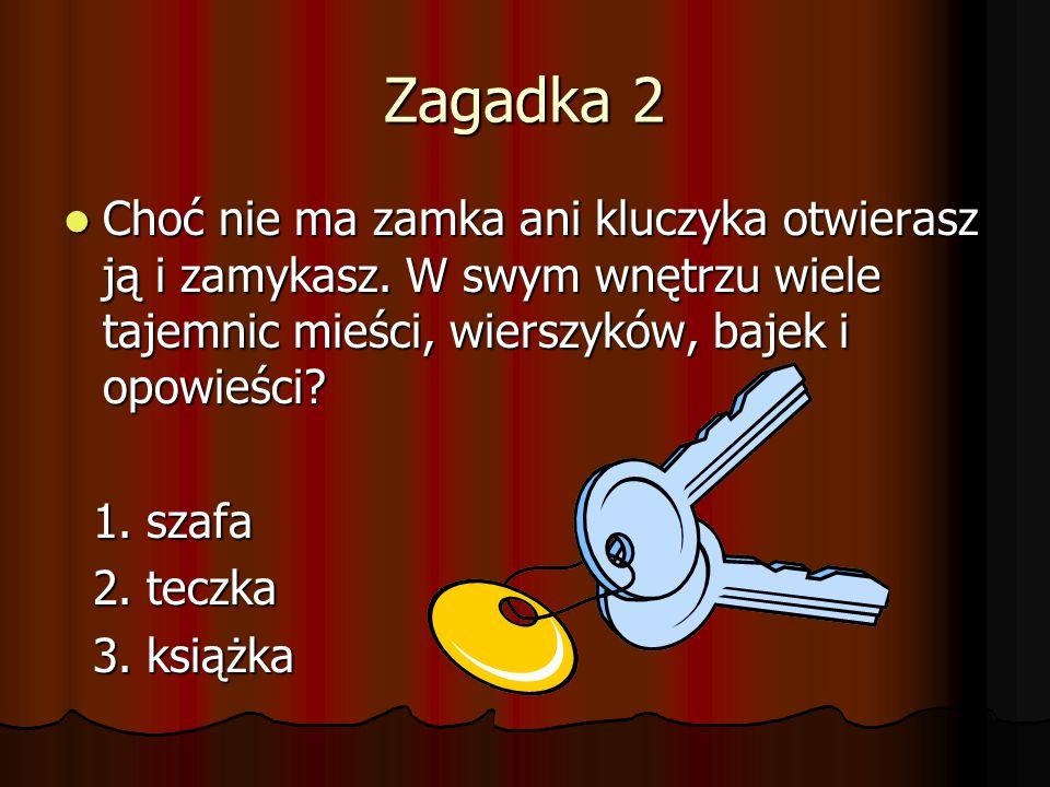 Zagadka 2 Choć nie ma zamka ani kluczyka otwierasz ją i zamykasz. W swym wnętrzu wiele tajemnic mieści, wierszyków, bajek i opowieści