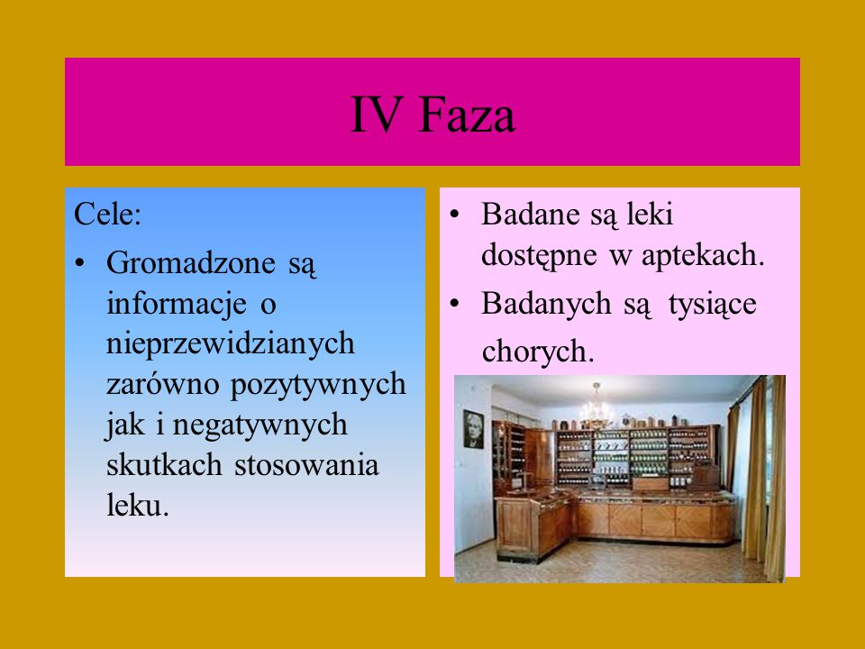 IV Faza Cele: Gromadzone są informacje o nieprzewidzianych zarówno pozytywnych jak i negatywnych skutkach stosowania leku.
