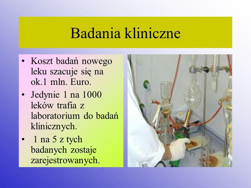 Badania kliniczne Koszt badań nowego leku szacuje się na ok.1 mln. Euro. Jedynie 1 na 1000 leków trafia z laboratorium do badań klinicznych.