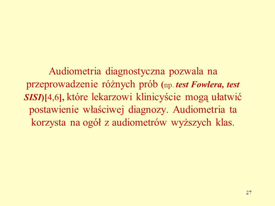 Audiometria diagnostyczna pozwala na przeprowadzenie różnych prób (np