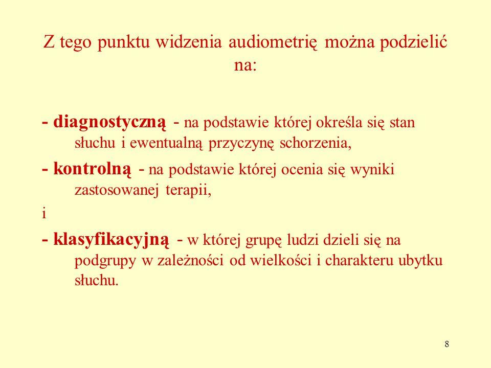 Z tego punktu widzenia audiometrię można podzielić na: