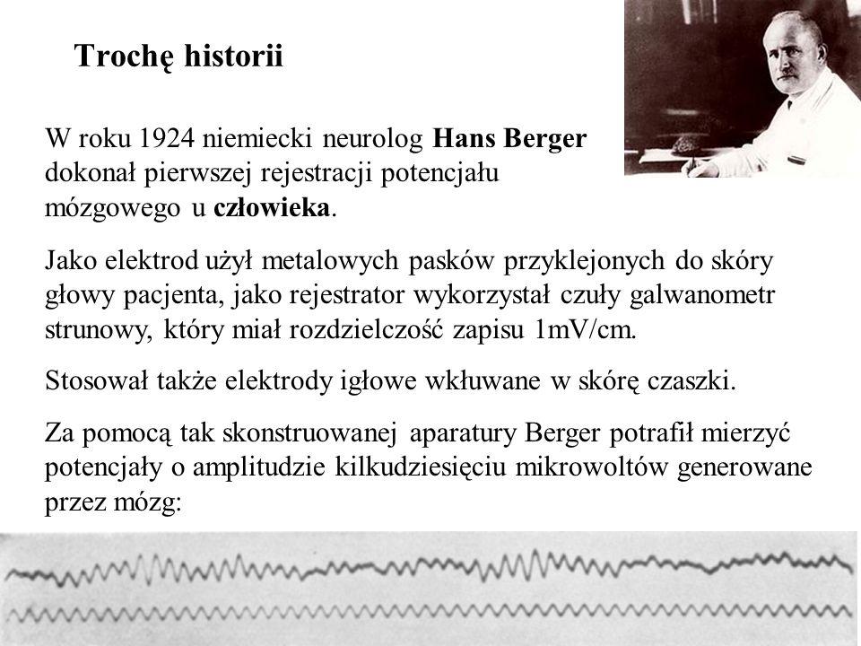 Trochę historii W roku 1924 niemiecki neurolog Hans Berger dokonał pierwszej rejestracji potencjału mózgowego u człowieka.