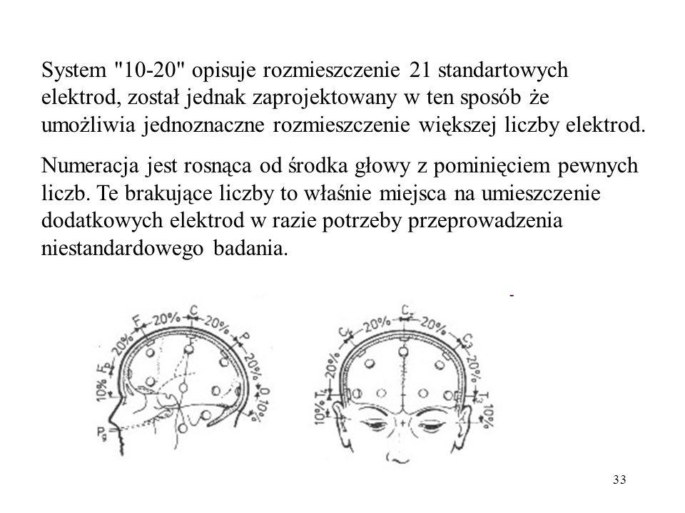 System 10-20 opisuje rozmieszczenie 21 standartowych elektrod, został jednak zaprojektowany w ten sposób że umożliwia jednoznaczne rozmieszczenie większej liczby elektrod.