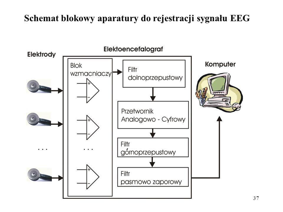 Schemat blokowy aparatury do rejestracji sygnału EEG