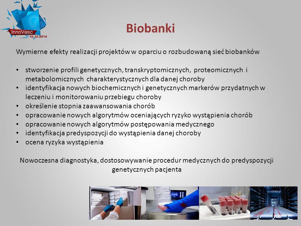 Biobanki Wymierne efekty realizacji projektów w oparciu o rozbudowaną sieć biobanków.