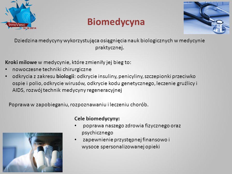 Biomedycyna Dziedzina medycyny wykorzystująca osiągnięcia nauk biologicznych w medycynie praktycznej.