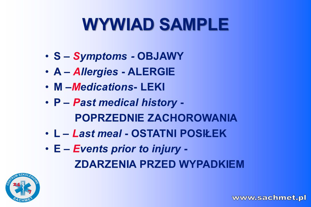 WYWIAD SAMPLE S – Symptoms - OBJAWY A – Allergies - ALERGIE