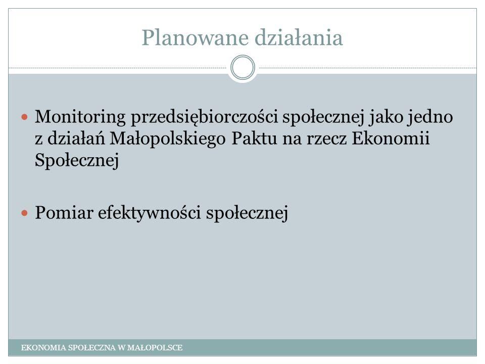 Planowane działania Monitoring przedsiębiorczości społecznej jako jedno z działań Małopolskiego Paktu na rzecz Ekonomii Społecznej.
