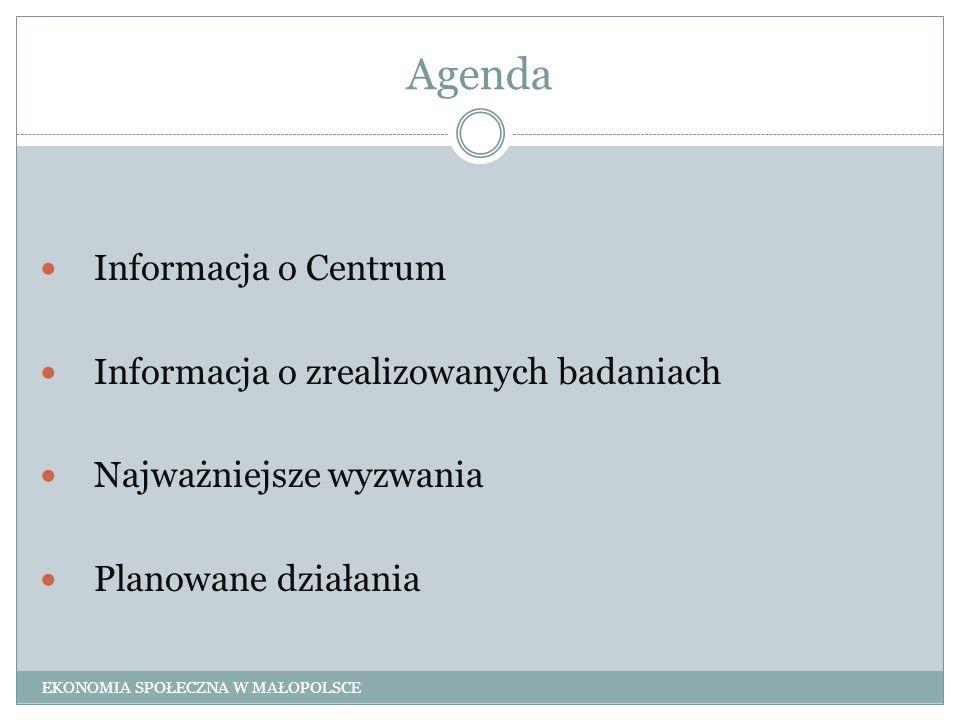 Agenda Informacja o Centrum Informacja o zrealizowanych badaniach