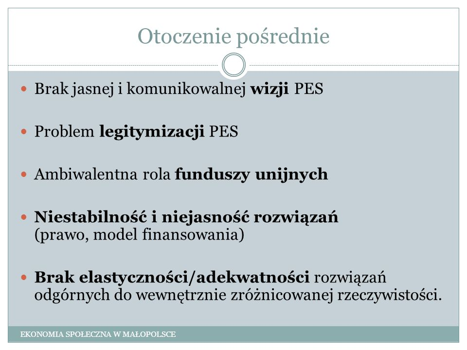 Otoczenie pośrednie Brak jasnej i komunikowalnej wizji PES