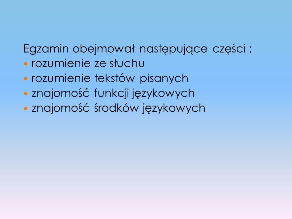 Egzamin obejmował następujące części :