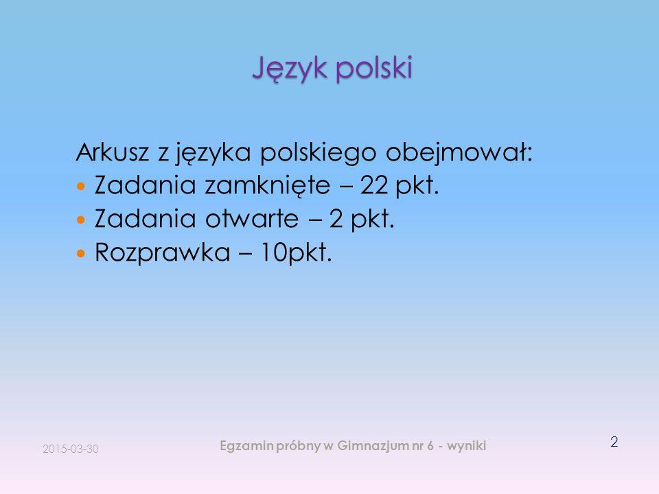 Język polski Arkusz z języka polskiego obejmował: