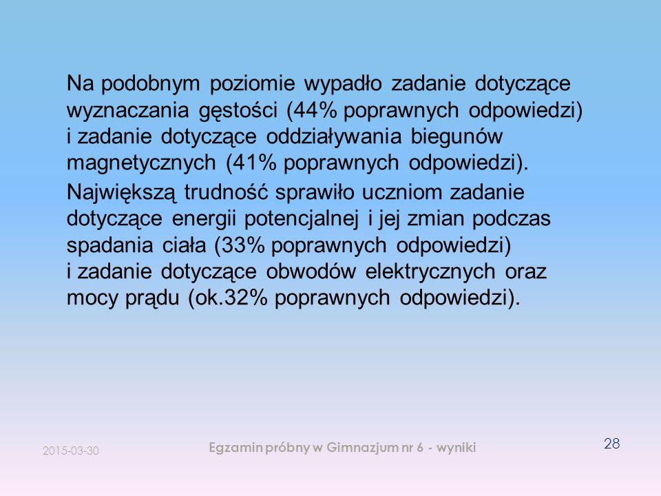 Na podobnym poziomie wypadło zadanie dotyczące wyznaczania gęstości (44% poprawnych odpowiedzi) i zadanie dotyczące oddziaływania biegunów magnetycznych (41% poprawnych odpowiedzi).