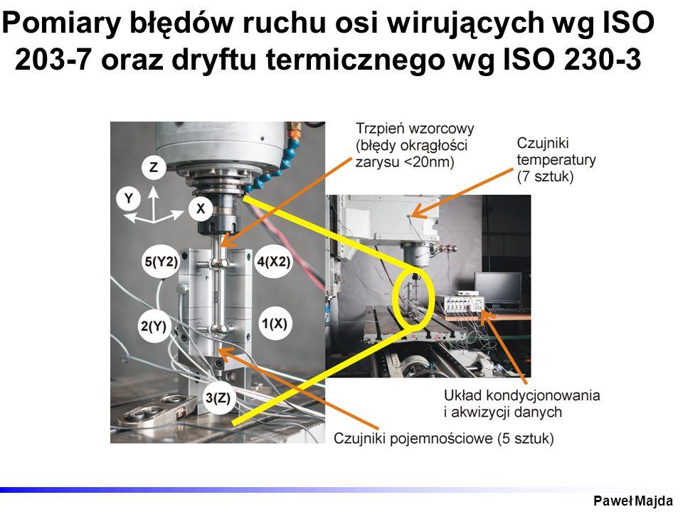 Pomiary błędów ruchu osi wirujących wg ISO 203-7 oraz dryftu termicznego wg ISO 230-3