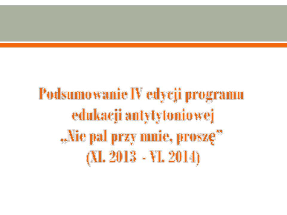 """Podsumowanie IV edycji programu edukacji antytytoniowej """"Nie pal przy mnie, proszę (XI."""