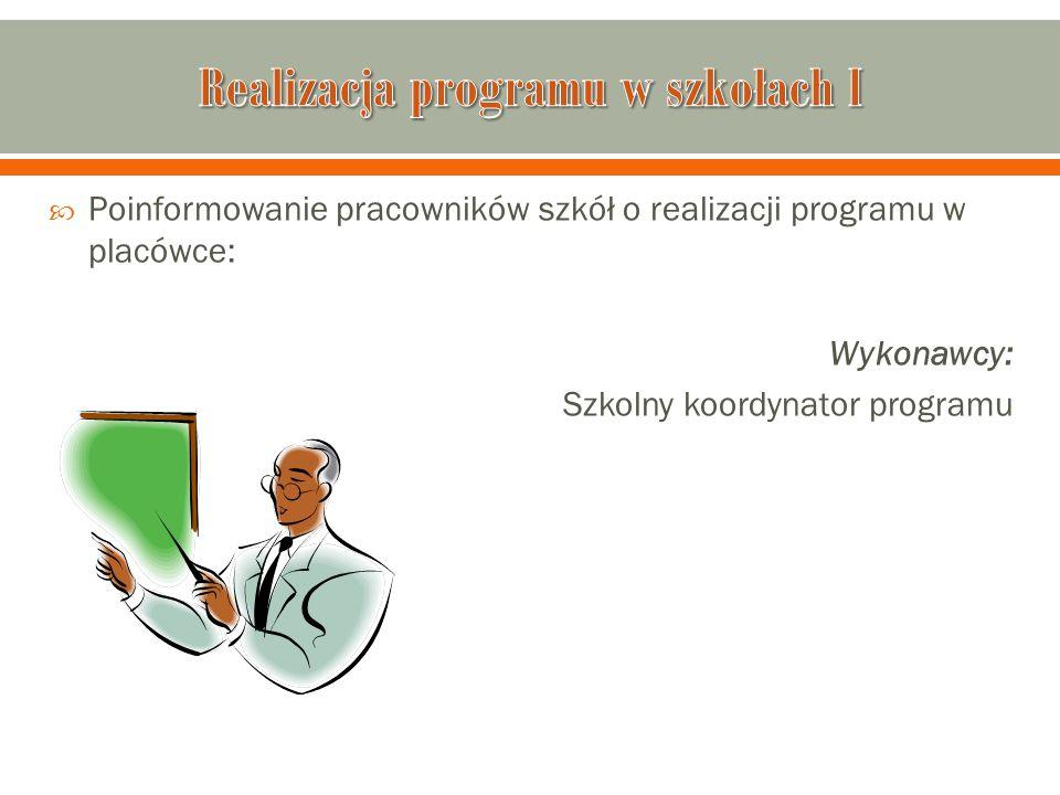 Realizacja programu w szkołach I