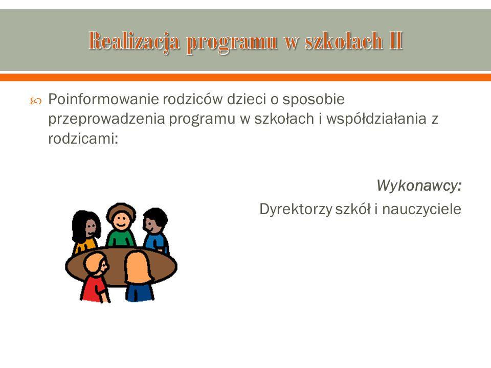 Realizacja programu w szkołach II