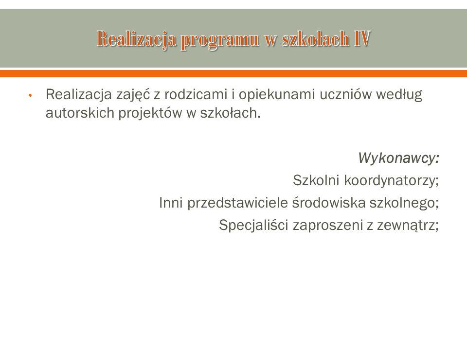 Realizacja programu w szkołach IV