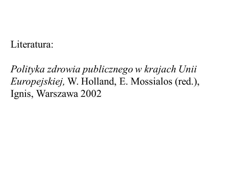Literatura: Polityka zdrowia publicznego w krajach Unii Europejskiej, W.