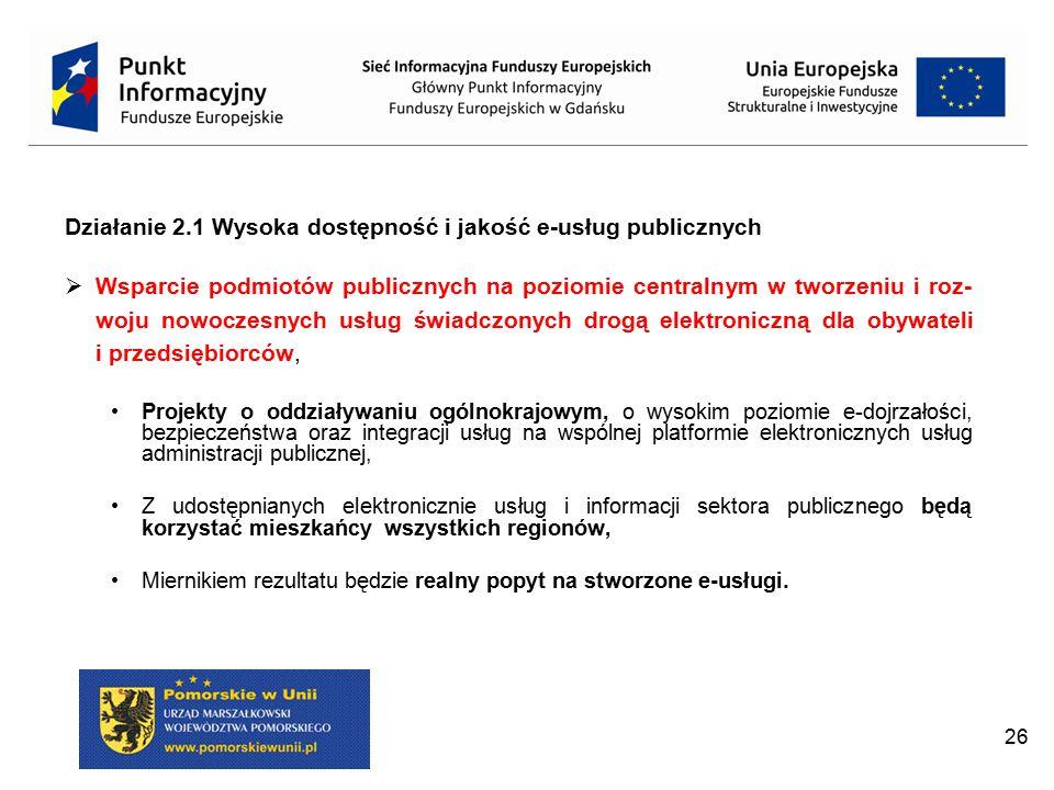 Działanie 2.1 Wysoka dostępność i jakość e-usług publicznych