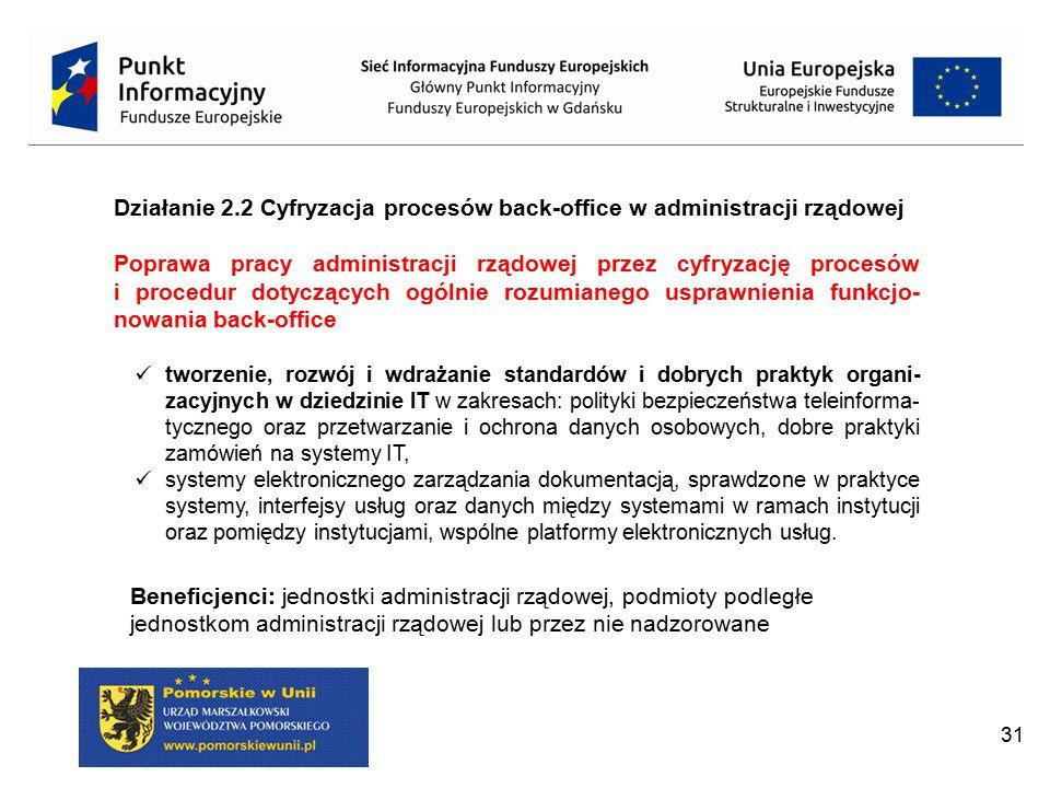 Działanie 2.2 Cyfryzacja procesów back-office w administracji rządowej