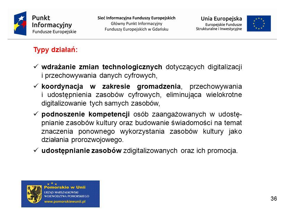 Typy działań: wdrażanie zmian technologicznych dotyczących digitalizacji i przechowywania danych cyfrowych,