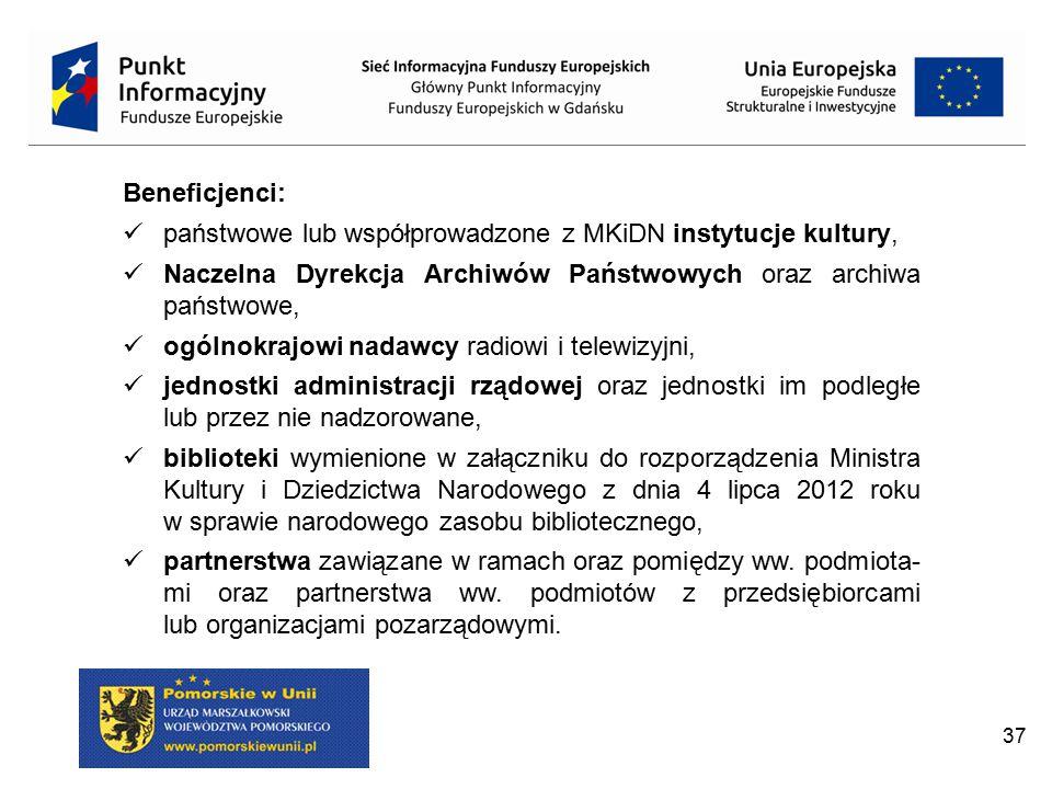 Beneficjenci: państwowe lub współprowadzone z MKiDN instytucje kultury, Naczelna Dyrekcja Archiwów Państwowych oraz archiwa państwowe,