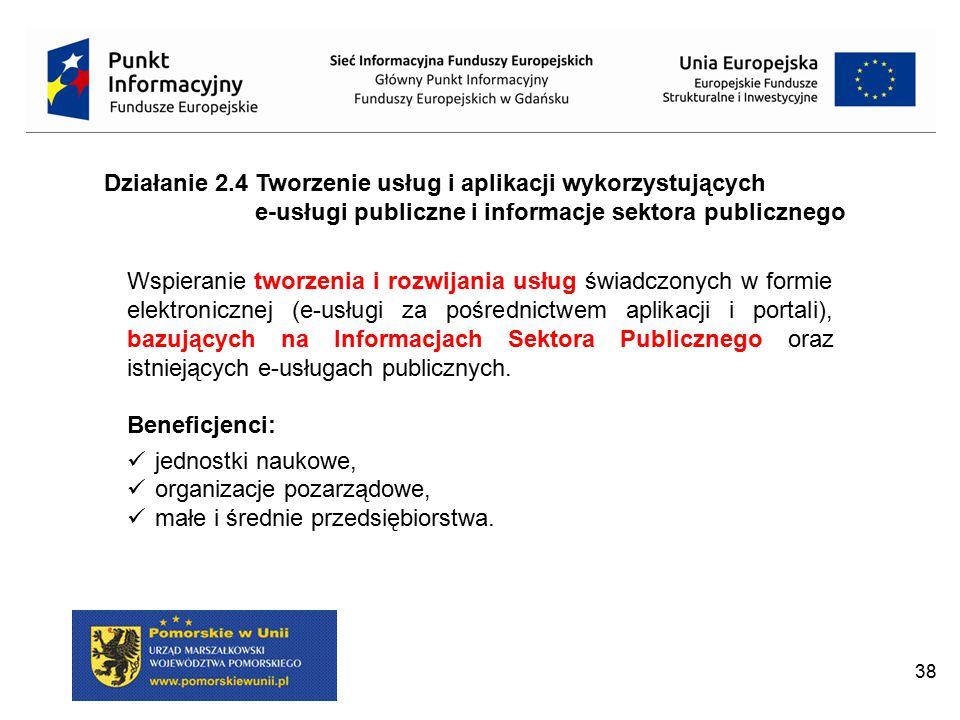 Działanie 2.4 Tworzenie usług i aplikacji wykorzystujących e-usługi publiczne i informacje sektora publicznego