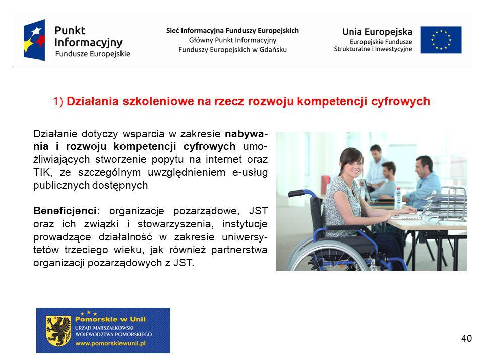 1) Działania szkoleniowe na rzecz rozwoju kompetencji cyfrowych