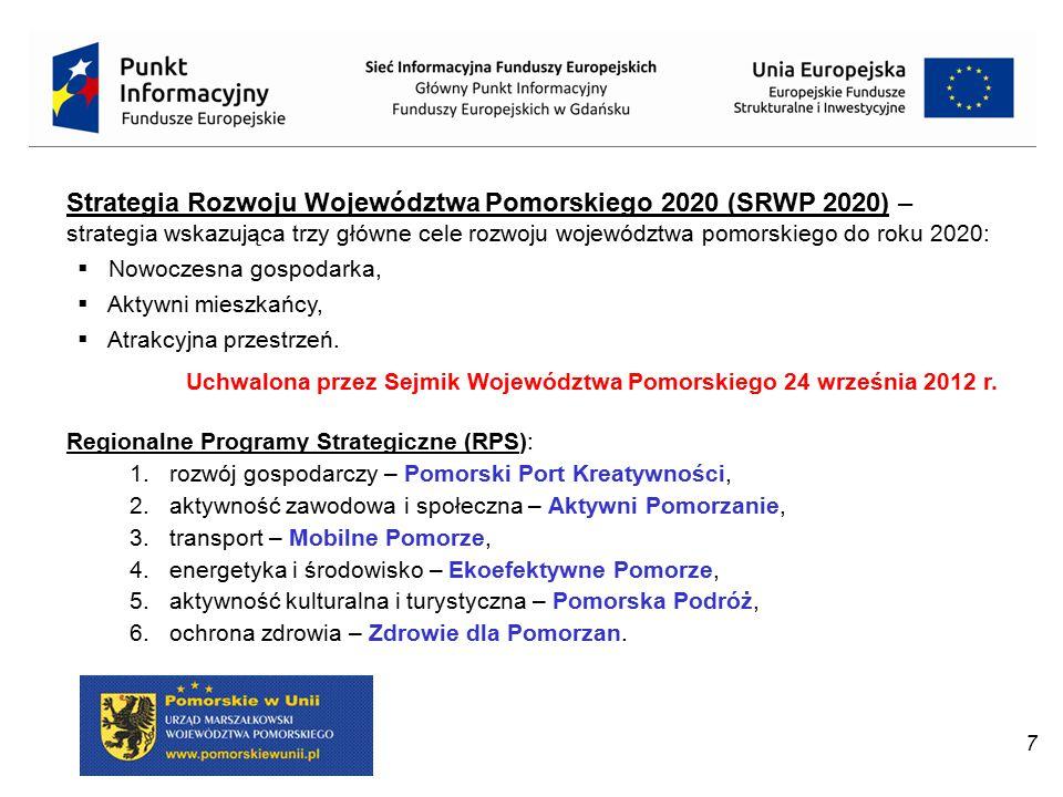 Strategia Rozwoju Województwa Pomorskiego 2020 (SRWP 2020) –strategia wskazująca trzy główne cele rozwoju województwa pomorskiego do roku 2020: