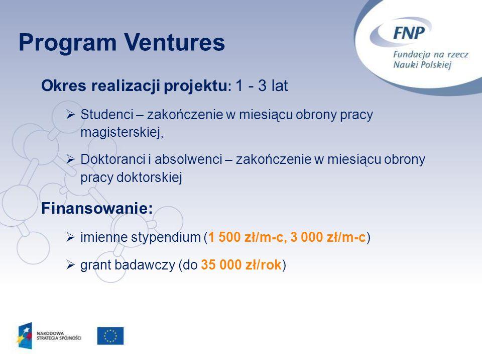 Program Ventures Okres realizacji projektu: 1 - 3 lat Finansowanie: