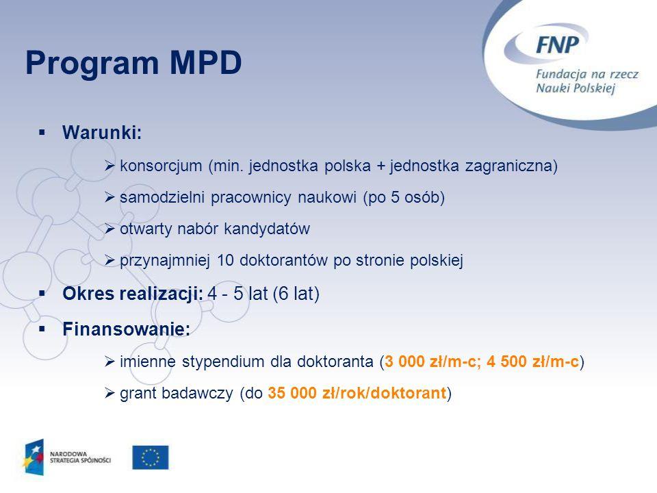 Program MPD Warunki: Okres realizacji: 4 - 5 lat (6 lat) Finansowanie: